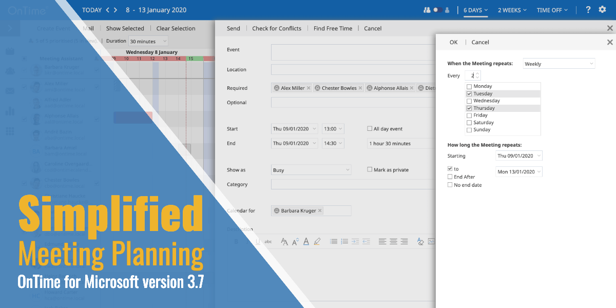 Simplified Meeting Planning in OnTime for Microsoft v. 3.7